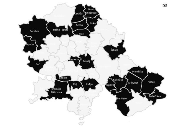 Opštine u kojima je Demokratska stranka na vlasti sa lokalnim partnerima